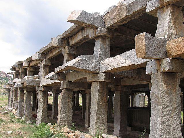 Hampi ruins stone temple