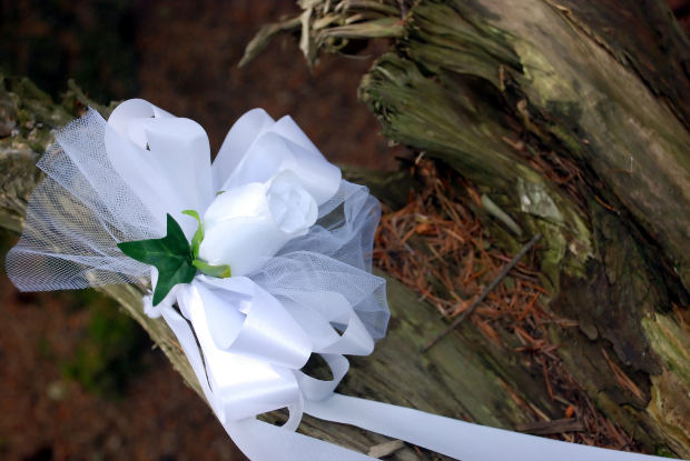 White Flower Wedding Bow