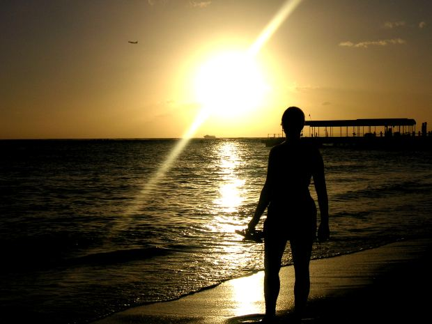Girl at beach during sunset